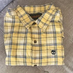 Boys Timberland yellow plaid short sleeved size L